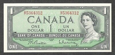 1954 M/P $1.00 BC-37b-i SELECT UNC EPQ * SHORT-PRINT Canada KEY QEII One Dollar
