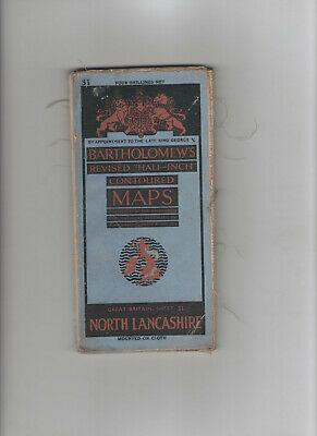 VINTAGE BARTHOLOMEWS CANVAS CONTOURED HALF INCH MAP - No.31 NORTH LANCASHIRE