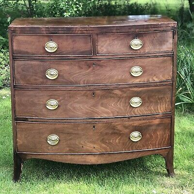 Quality Regency bow fronted mahogany chest of drawers 1820