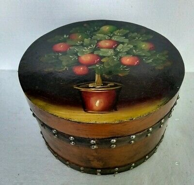Vintage Wooden Hat Box Beautifully hand painted, Felt lined, studded leather