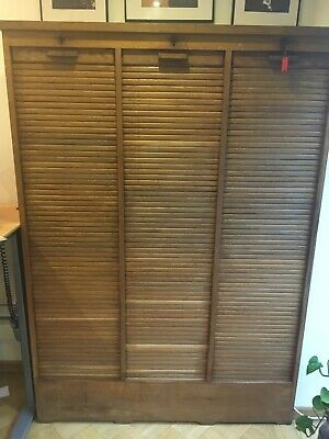 Vintage French oak Tambour triple filing cabinet, original key