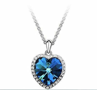 Pendant Titanic Heart Of The Ocean Necklace Silver Fashion Jewelry Romantic