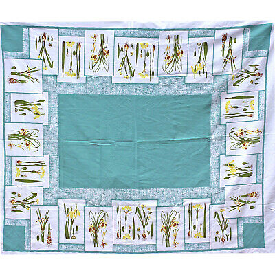 Vintage California Handprints Floral Tablecloth Turquoise Blue Yellow Lily Bulbs