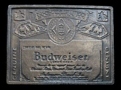 SB07101 VINTAGE 1970s **GENUINE BUDWEISER LAGER BEER** ADVERTISEMENT BELT BUCKLE