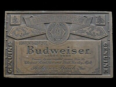 SB07126 VINTAGE 1970s **GENUINE BUDWEISER LAGER BEER** ADVERTISEMENT BELT BUCKLE