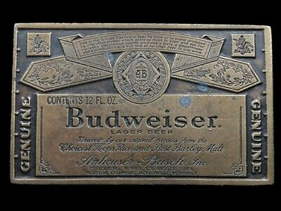 SB07129 VINTAGE 1970s **GENUINE BUDWEISER LAGER BEER** ADVERTISEMENT BELT BUCKLE