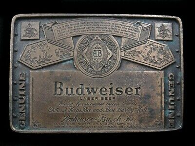 SB07135 VINTAGE 1970s **GENUINE BUDWEISER LAGER BEER** ADVERTISEMENT BELT BUCKLE
