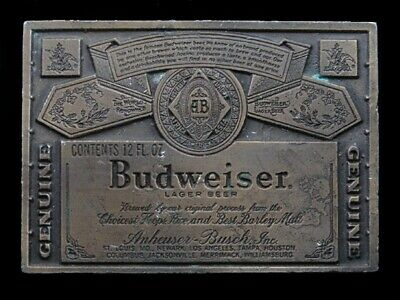 SB07130 VINTAGE 1970s **GENUINE BUDWEISER LAGER BEER** ADVERTISEMENT BELT BUCKLE