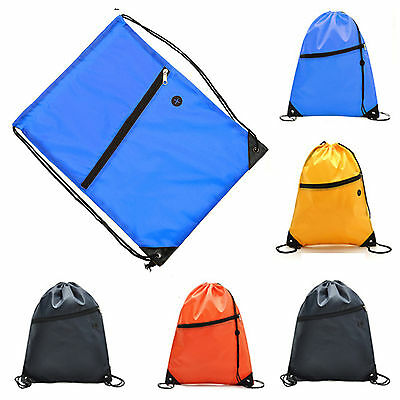 Zipper Waterproof Backpacks Drawstring Casual Gym Sports Bag Daypack Cinch Sack