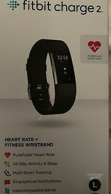 New Fitbit Charge 2 Heart Rate Monitor Fitness Tracker Wristband Black Large