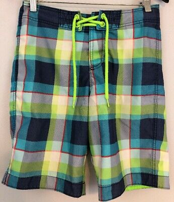 40e0473e16 Hollister XS Mens Swimsuit Swim Trunks Board Shorts Blue Green Red White  Plaid