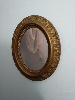Antique VICTORIAN Lemon GOLD Gilted Ornate OVAL Wood Ormolu Mirror Looking Glass