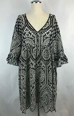 bbb0860e693a Anthropologie Akemi + Kin Brooke Embroidered Dress Size 8 Eyelet Swing Black