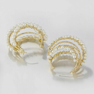 New Women Gold Multi-layer Metal Lines Round Circle C shaped Pearl Drop Earrings