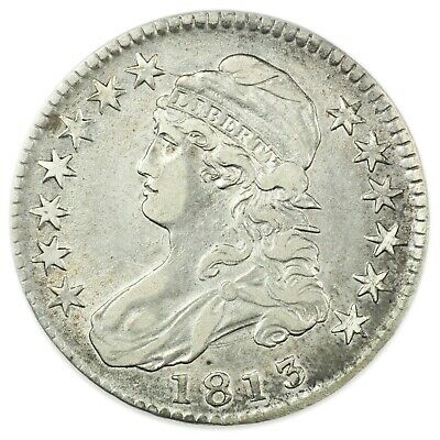1813 Capped Bust Half Dollar, Rare, About UNC, Early Silver Coin [4174.167]
