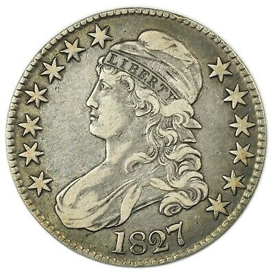 1827 Capped Bust Half Dollar, Square Base, Rare Early Silver Coin [4174.174]