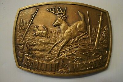 1983 Smith & Wesson Whitetail Deer Belt Buckle North American Game Series Brass