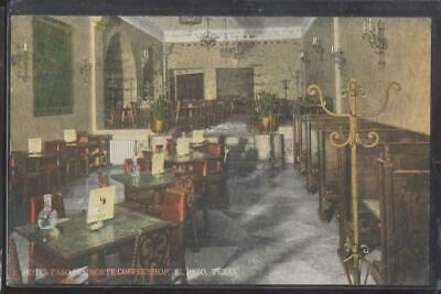 Postcard Texas/TX  El Paso Hotel Del Norte Coffee Shop Interior 1910's