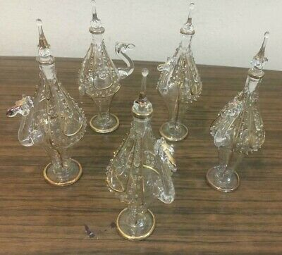 Set of 5 Mouth Blown EGYPTIAN PERFUME BOTTLES Pyrex Glass CAMEL Shape 5""