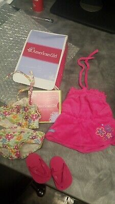 American Girl doll FLORAL SWIM OUTFIT Sports Swimsuit Charm Retired + shoes