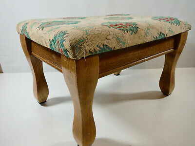 Vintage Wood Foot Stool For Recovering Upholstery, Nice Compact Size