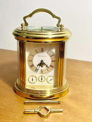 Vintage Tiffany & Co Moon Phase Swiss MATHEW NORMAN Carriage Clock. Excellent.