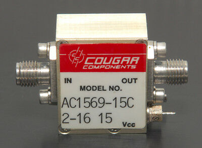 TELEDYNE COUGAR RF POWER AMPLIFIER AC1569-15C 10-1500 MHz +21 dB 50 Ohm SMA(f-f)