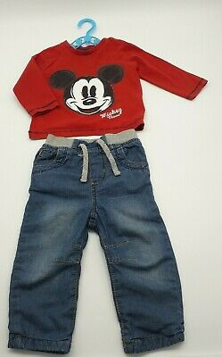 Baby Boy Clothes 6-9 Months Outfit Disney Red Micky Mouse Top Denim Trousers