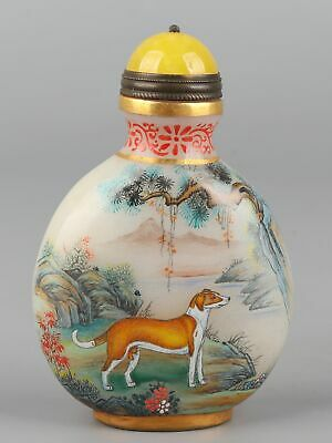 Chinese Exquisite Handmade Animals and landscape Glass snuff bottle