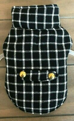 Black & White Check Dog Coat - XXS - Adjustable Straps - Peacoat - SimplyDog NEW