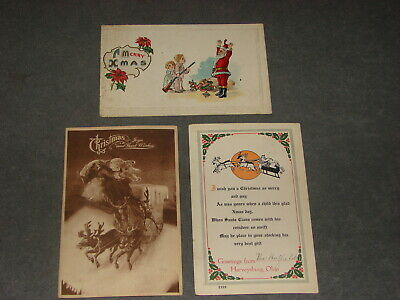 Lot of 3 Christmas Santa Claus Sleigh Post Cards Vintage 1913 1915