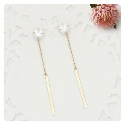 14K Solid Yellow Gold Cubic Star Stud Long Drop Dangle a Pair of Earrings TPD