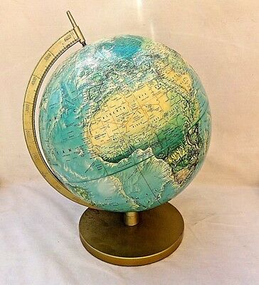 VINTAGE 60s-70s Rand McNally World Portrait Relief Globe VGUC