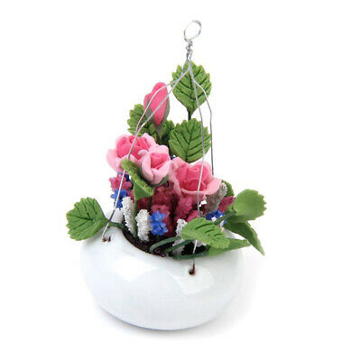 1:12 Dollhouse Home Decoration Miniature Clay Rose Flower with Ceramic Hangi 5W6