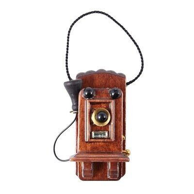 1:12 Miniature Antique Wall Mount Phone Dollhouse Decoration Accessories G5M6