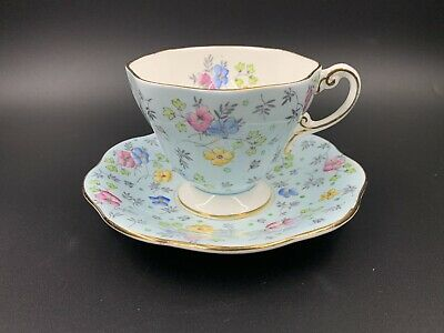 Foley Baby Blue with Flower Tea Cup And Saucer Set Bone China England