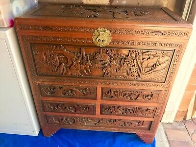 Oriental Chinese Carved Wood Camphor Chest Drawers Large Antique Storage Cabinet