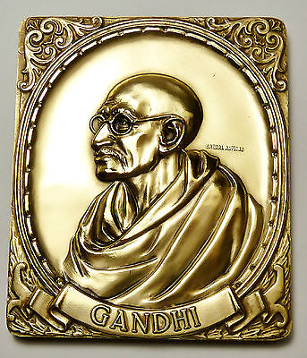 Bullion Mahatma Gandhi Coins & Paper Money Bapu Indian Leader Big 8 Oz Bronze Art Bar Super Rare A Wide Selection Of Colours And Designs