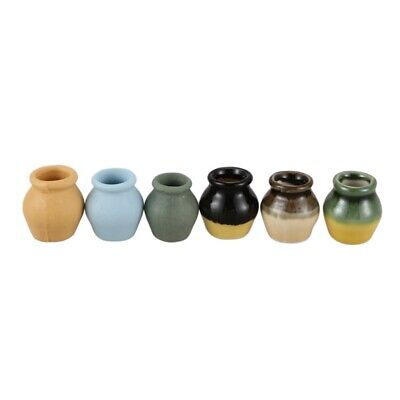 1: 12 Dollhouse Miniature Toy Porcelain Decoration Vase Pot set 6pcs Z7A8