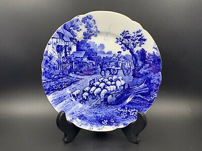 "Shelley Blue Devon 12734 Salad Display 7.5"" Plate Rare Bone China England"