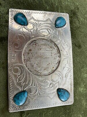 Nickel-Silver Belt Buckle With 4 Turquoise Stones Missing Large Center Piece