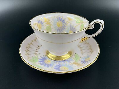 Tuscan Pink Blue Daisy Tea Cup and Saucer Set Bone China England