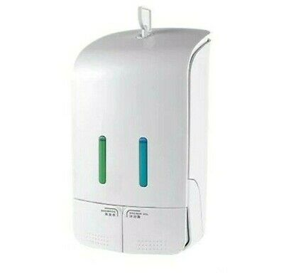 Double Manual Liquid Soap Dispenser Bathroom Wall Mounted Hand Presser Container