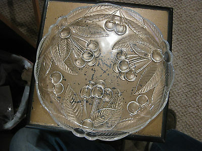 Mw: Antique Leaded Glass Tray Etched With Leaves & Berries