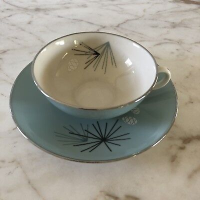 Vintage Mid Century Americana FRANCISCAN Pottery Teacup And Saucer - Silver Pine