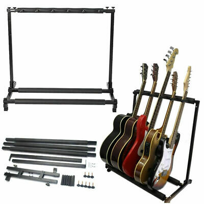 Iron 5 Way Multi Guitar Rack Padded Holder Stand Electric Acoustic Bass Guitar