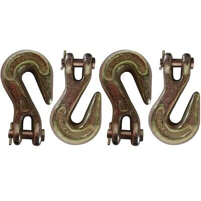"""Four (4) 5/16"""" Clevis Grab Hook G43 Flatbed Truck Trailer Transport Tow Chain HD"""