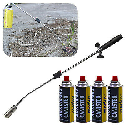 Butane Gas Weed Wand Blowtorch Garden Torch Weeds Killer Burner Blaster + 4 Gas