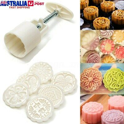 6 Style Stamps 50g Round Flower Moon Cake Mold Mould Set Mooncake Decor AU