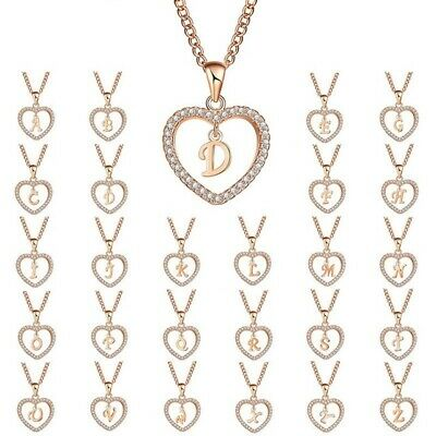 Crystal Rose Gold Initial Alphabet Letter A-Z Love Heart  Pendant Chain Necklace